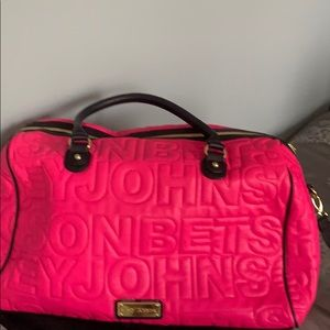 Pink and Black Small Betsey Johnson travel bag